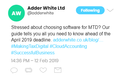 A basic Tweet from an accountancy firm with link to its website.