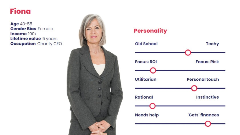 A typical persona that an accountant might wish to target: Fiona, the charity CEO.