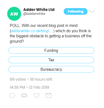 A Tweet with a poll about starting a business.