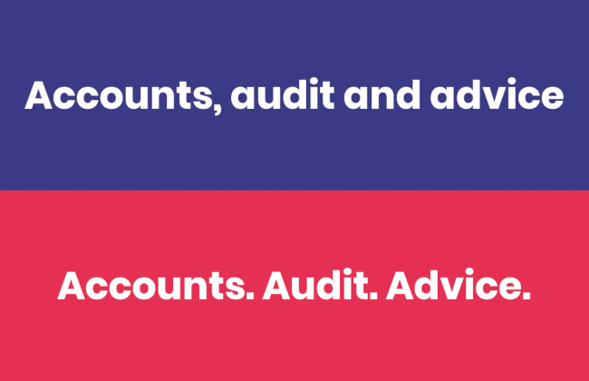 """Accounts, audit and advice"" vs. ""Accounts. Audit. Advice."""