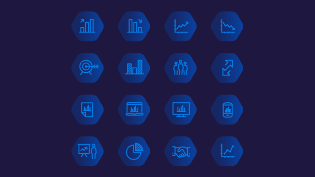 Icons illustrating concepts for an accounting websites