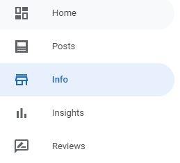 Google My Business dashboard menu
