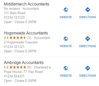 Google My Business local search results example